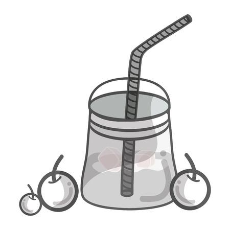 Contour delicious smoothie of cherry beverage icon Illustration