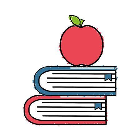 school books with apple fruit icon, vector illustration