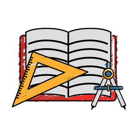 open notebook with study tools icon, vector illustration