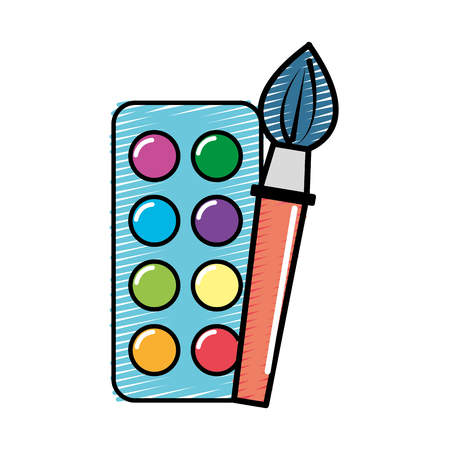 sketchpad: paint palette with brush art tool, vector illustration