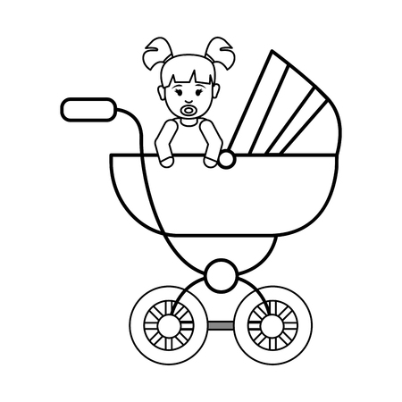 hapiness: silhouette baby girl inside carriage icon, vector illustration design image