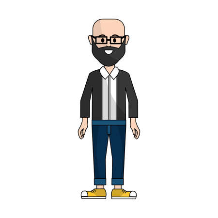 people, man with casual cloth with glasses avatar icon, vector illustration Illustration