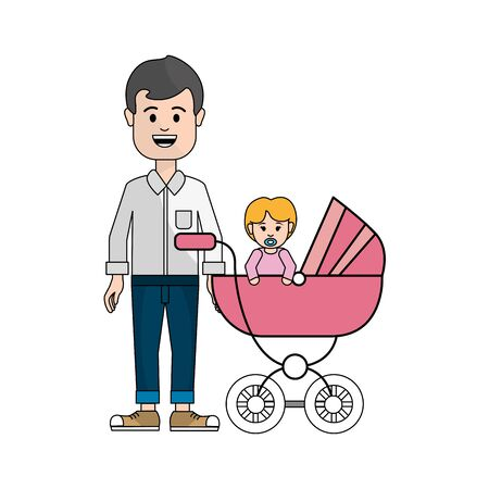 man happy and his baby icon, vector illustration design