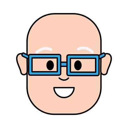 幸せな男の禿げ頭とメガネ