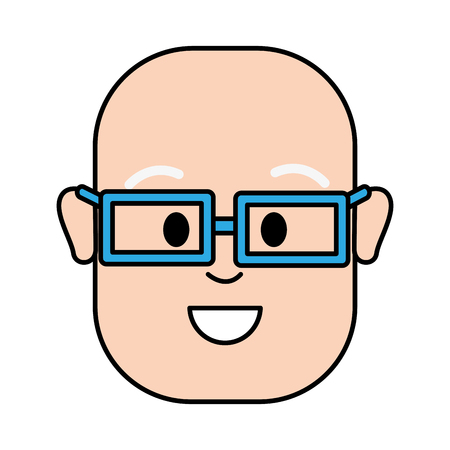 happy man with bald head and glasses