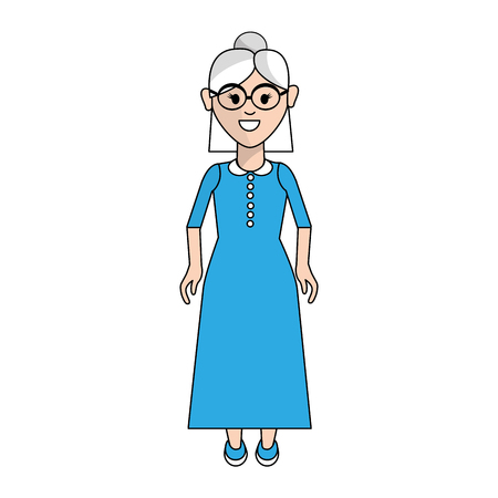 old woman with hairstyle and long dress
