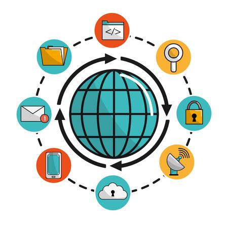 global internet digital service connect Illustration