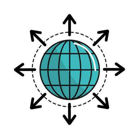 email icon: global internet digital service connect Illustration
