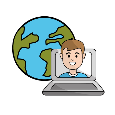 student class online in the laptop and global planet