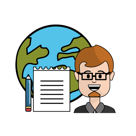 teacher with school tools and global planet Illustration