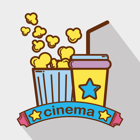 cinema with popcorn soda beverage Illustration