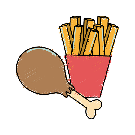 delicious chicken thigh with tasty french fries Illustration