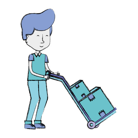 delivery man with packages in transport tool
