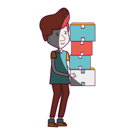 delivery man with packages box distribution