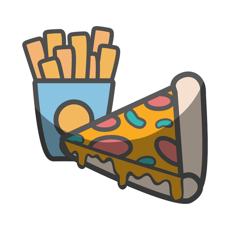 delicious pizza and french fries food