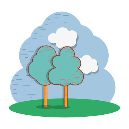 beautiful cloud and trees icon