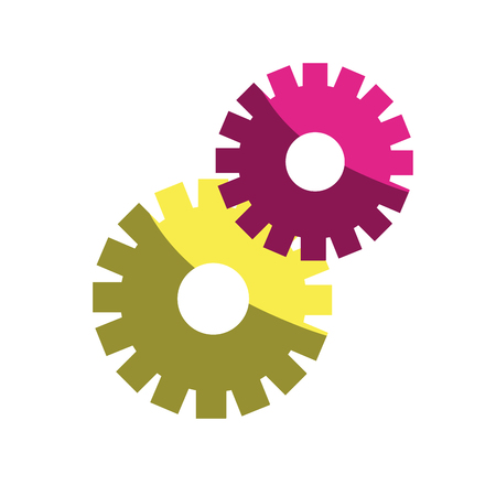 color gears symbol process industry Illustration
