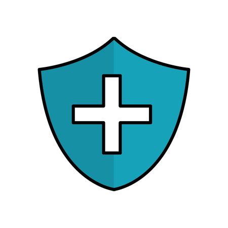 blue seal cross emergency security line icon