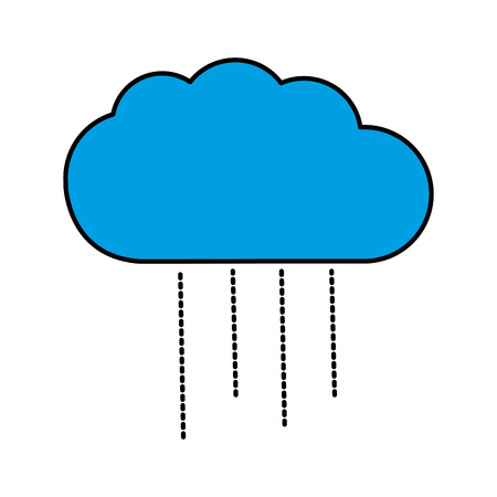 blue cloud weather line icon isolated Illustration