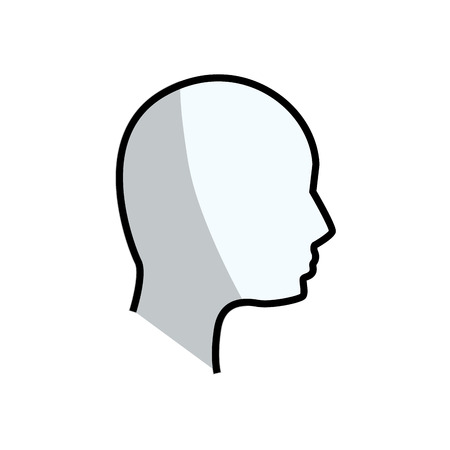 emotional stress: contour human head man Illustration