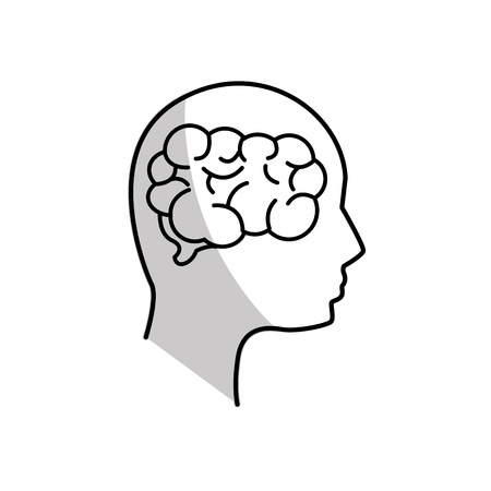 figure mental health person with brain Illustration