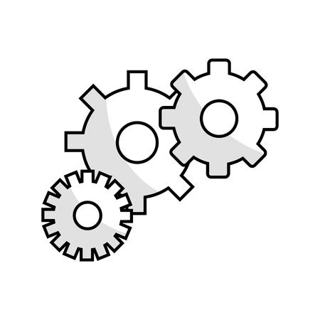 mechanism of progress: figure gears symbol process industry Illustration