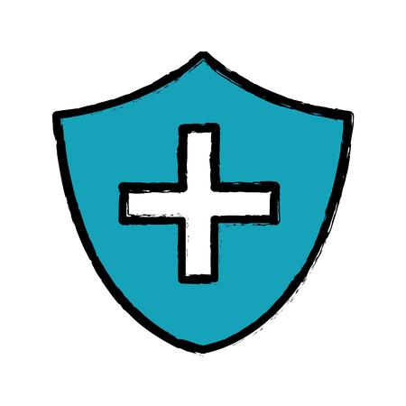 reanimation: blue seal cross emergency security Illustration