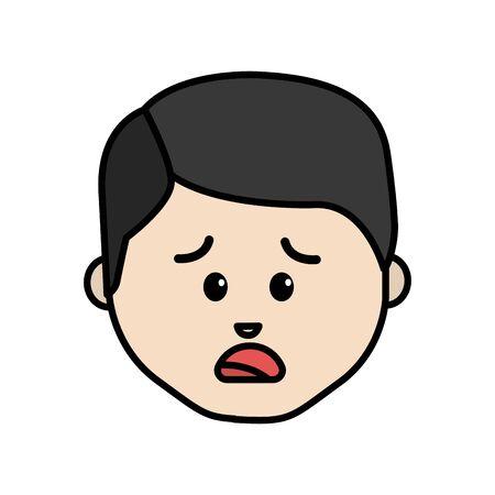 Line cartoon man face sad expression.
