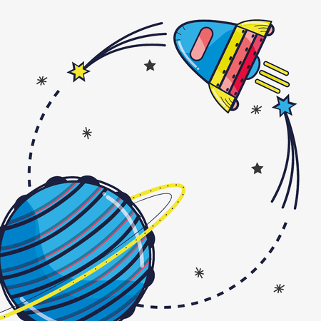 Rocket visiting to Uranus planet in the galaxy. Illustration