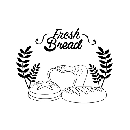 Emblem fresh bread bakery with branches.