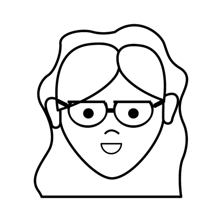 brow: Line happy beautiful woman with glasses and hairstyle. Illustration