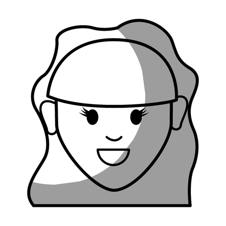 brow: figure happy nice woman with hairstyle Illustration