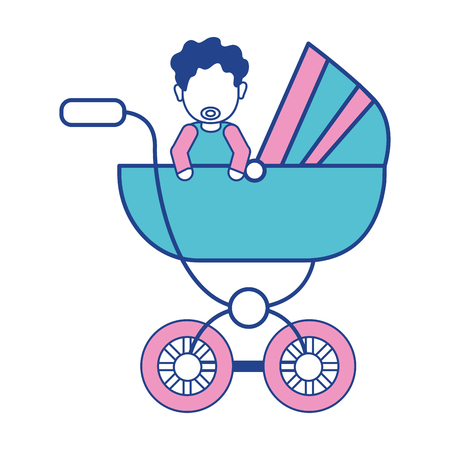 hapiness: baby girl with hairstyle inside carriage Illustration