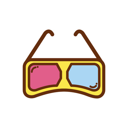3d glasses to see movie in the cinema. Illustration