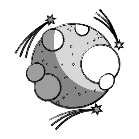 astral: Gray scale moon in the nebula space with astral stars. Illustration