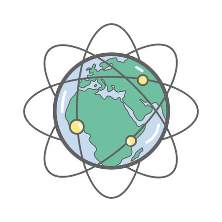 Geostationäre Umlaufbahnen um den Planeten Erde.