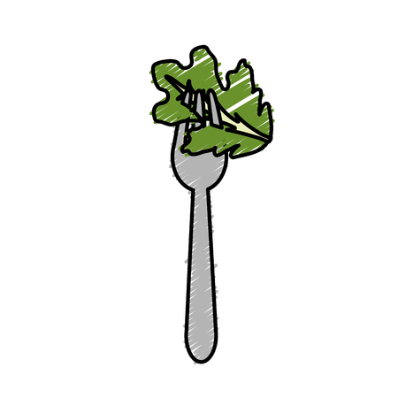leaf lettuce: Fresh leaf lettuce in the fork utensil.