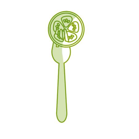 slhouette: silhoutte fresh slice cucumber in the fork utensil