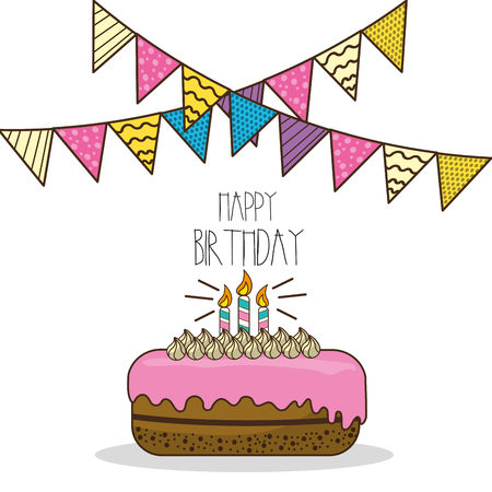 and delighted: happy birthday decoration with cake and candles Illustration