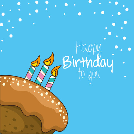 happy birthday decoration with cake and candles Illustration
