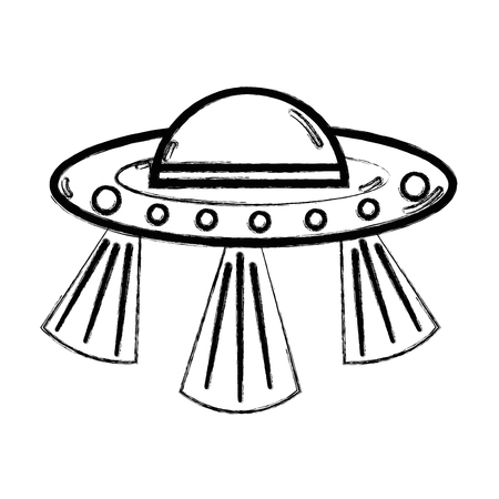 figure UFOs in the galaxy space and mysterious creation