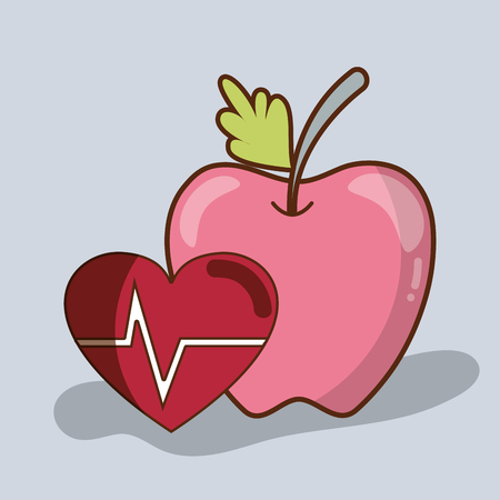 Flat line delicious apple fruit with healthy heart