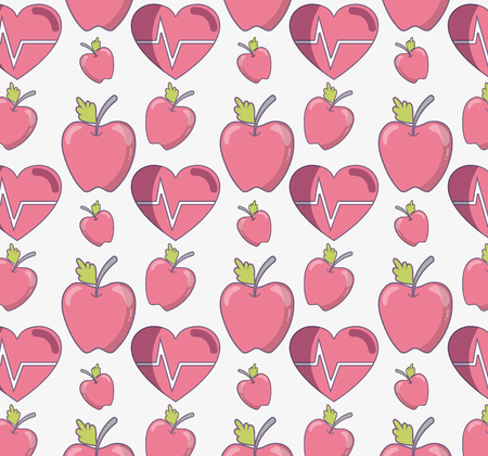 Flat line delicious apple fruit with healthy heart pattern