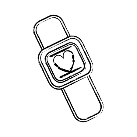 figure cute smartwatch technology with fitness app