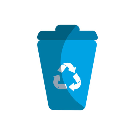 land development: blue can trash with reuse, reduce and recycle symbol