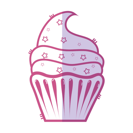 silhouette delicious cupcake to happy birthday celebration Illustration