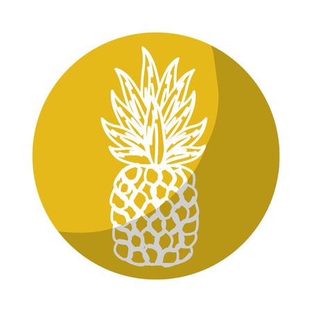 Sticker delicious pineapple tropic fruits, vector illustration design Illustration