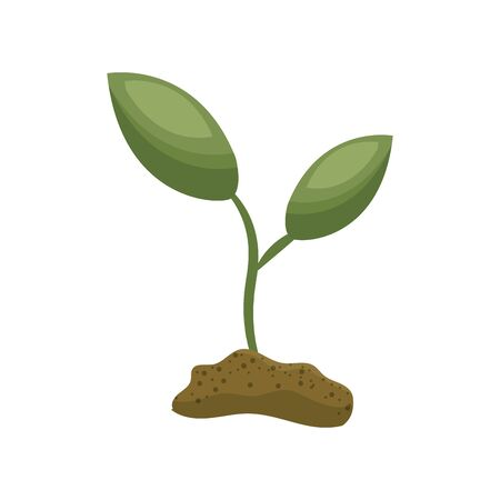 land development: Cute ecology plant with earth, vector illustration design