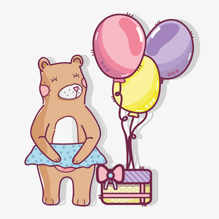cute wild bear with a gift and balloons