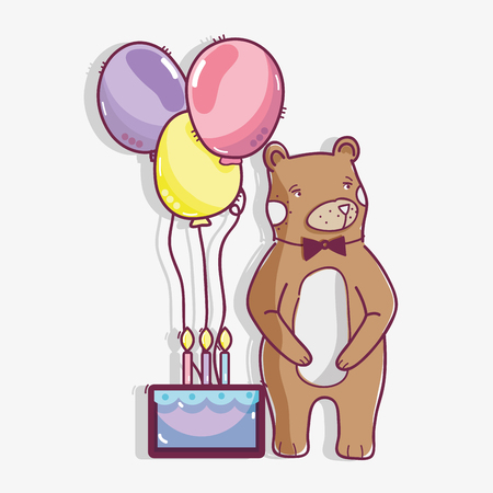 A cute wild bear with a cake and balloons